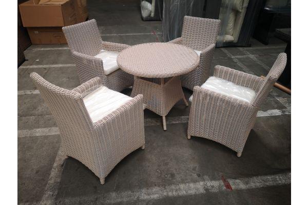 #G 1271: 4er Set Sessel Fontana mit Tisch Farsund 5mm-perlweiß