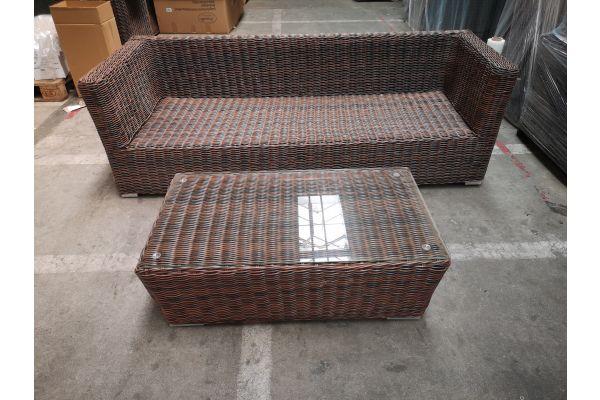 #G 1278: 3er Sofa mit Tisch Mandal 5mm-braun-meliert
