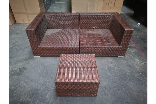 #G 1283: Sofa bestehend aus 2 Eckelementen Barcelona mit Tisch Genero-braun-meliert