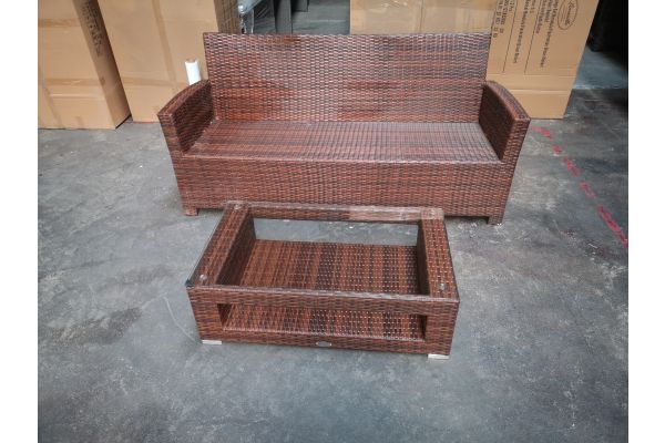 #G 1285: 3er Sofa Fisolo mit Tisch Honolulu-braun-meliert