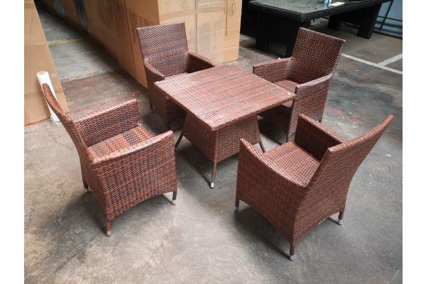 #G 1293: 4er Set Stuhl Julia mit Tisch Sierra-braun-meliert
