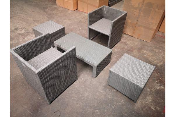#HBM 1297: 2er Set Stuhl Maui mit Hocker und Tisch Casablanca
