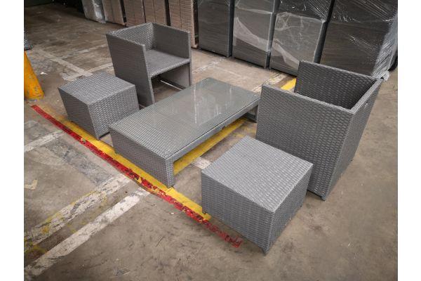 #HBM 1307: 2er Set Stuhl mit Hocker Tahiti und Tisch Casablanca