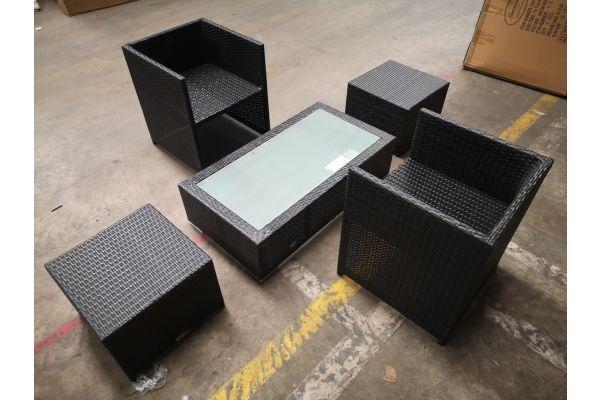 #G 1310: 2er Set Stuhl Tahiti mit Hocker und Tisch Provence-schwarz