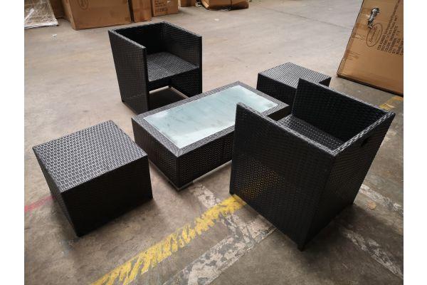 #HBM 1312: 2x Stuhl + 2x Hocker Tahiti + Tisch Provence schwarz-schwarz