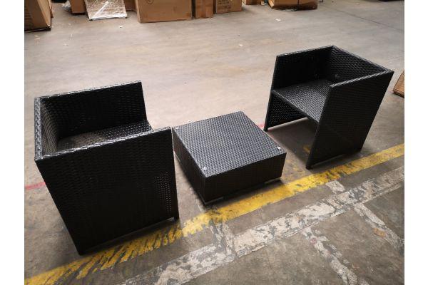 #HBM 1315: 2x Sessel Tahiti + Tisch Terra schwarz-schwarz