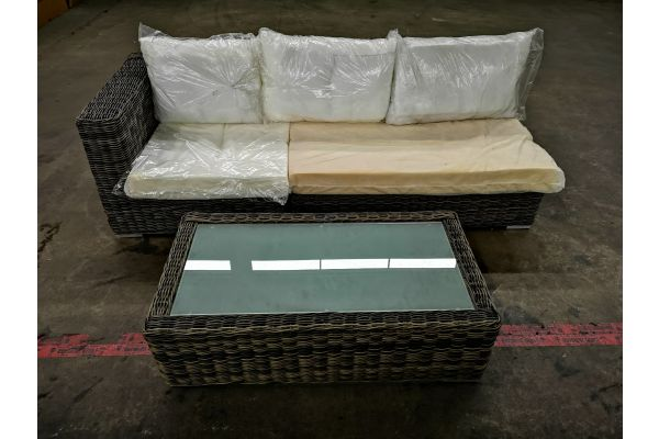 #HBM 1317: 2er Mittel- und 1 Seitenelement rechts Ariano 5mm mit Tisch Madeira 5mm-grau-meliert