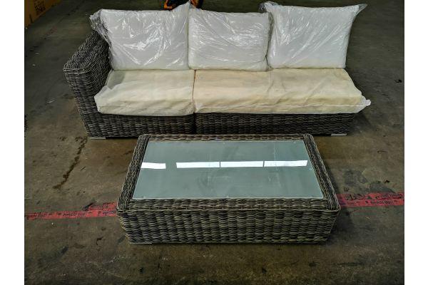 #HBM 1318: 2er Mittel- und 1 Seitenelement rechts Ariano 5mm mit Tisch Madeira 5mm-grau-meliert