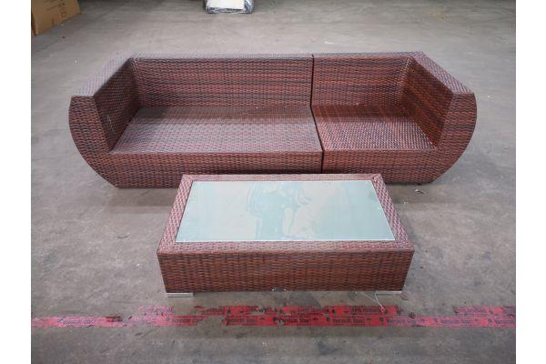 #HBM 1319: Sofa bestehend aus Eck- und Seitenelement Gibraltar mit Tisch Provence-braun-meliert