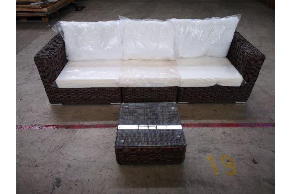 #G 1331: Sofa bestehend aus 2 Seiten- und 1 Mittelelement mit Tisch Ariano 5mm-braun-meliert