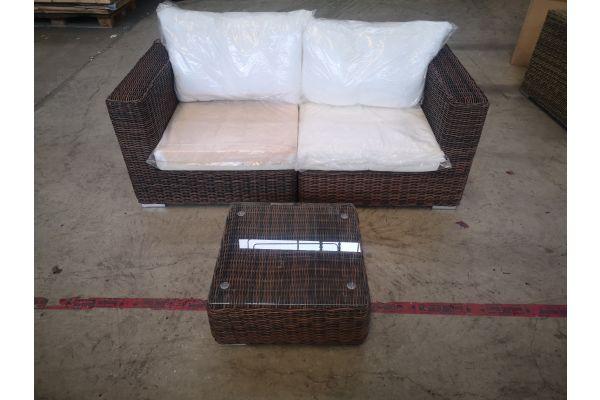#G 1338: Sofa bestehend aus 2 Eckelementen mit Tisch Ariano 5mm-braun-meliert
