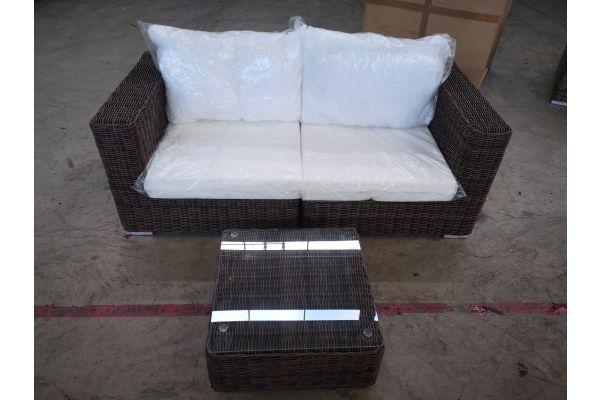 #G 1340: Sofa bestehend aus 2 Eckelementen mit Tisch Ariano 5mm-braun-meliert