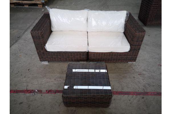 #G 1341: Sofa bestehend aus 2 Eckelementen mit Tisch Ariano 5mm-braun-meliert