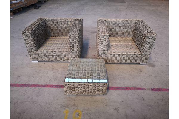 #G 1344: 2er Set Sessel mit Tisch Ariano 5mm-natura