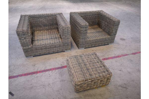 #G 1351: 2er Set Sessel mit 1 Hocker Ariano 5mm-natura