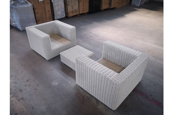 #HBM 1372: 2er Set Sessel mit 1 Hocker Ariano 5mm-perlweiß