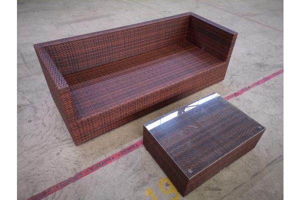 #HBM 1384: 3er Sofa Liberi mit Tisch Paradiso-braun-meliert