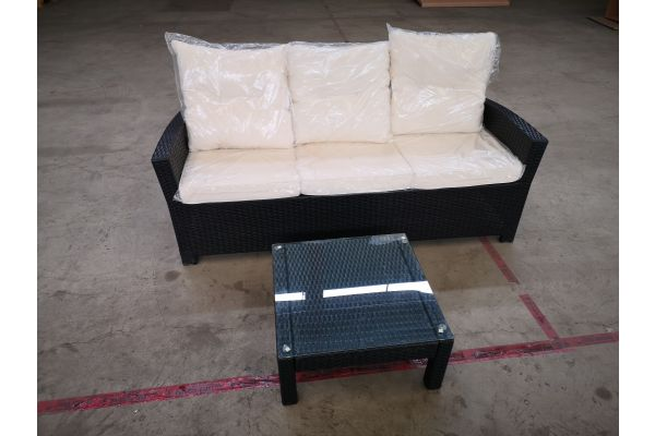 #HBM 1387: 3er Sofa Fisolo mit Tisch Fiji schwarz cremeweiß