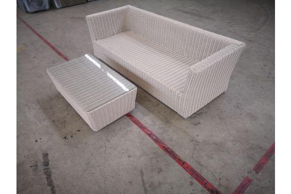 #HBM 1388: 3er Sofa mit Tisch Mandal 5mm perlweiß-perlweiß