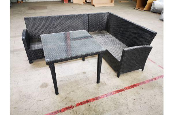 #HBM 1399: Sitzgruppe Bermeo mit Tisch Bari 90x90 cm-schwarz