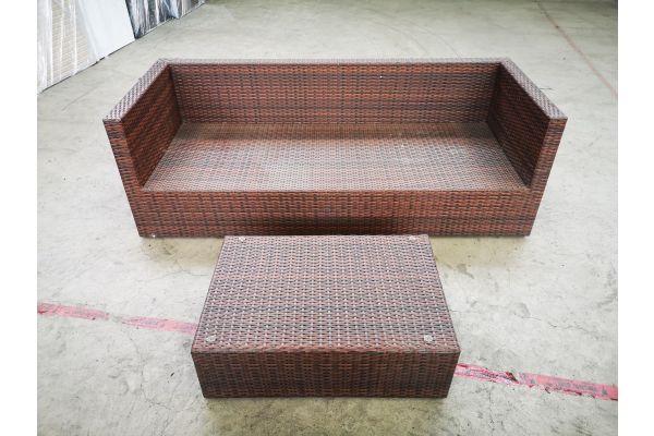 #HBM 1400: 3er Sofa Liberi mit Tisch 82x56x27 cm-braun-meliert
