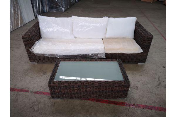 #HBM 1402: 3er Sofa bestehend aus langem und kurzen Seitenelement Ariano mit Tisch Madeira 5mm-braun-meliert