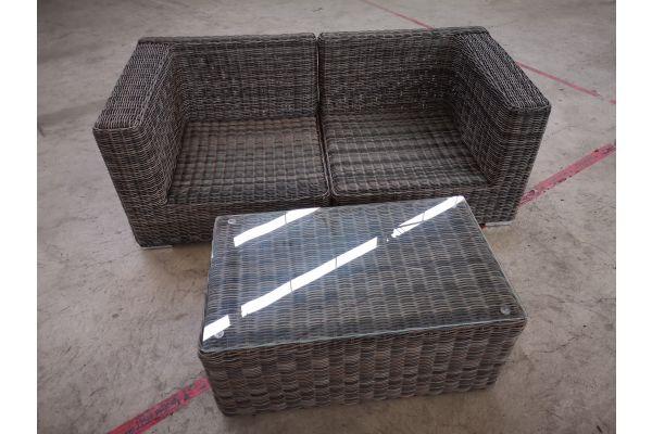 #G 1404: 2er Sofa bestehend aus 2 Seitenelementen Ariano mit Tisch Bergen 5mm-grau-meliert