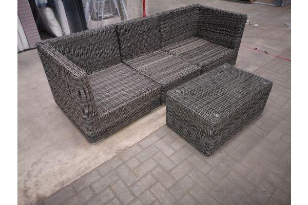 #HBM 1410: 3er Sofa Del Mar bestehend aus 2 Eck- und 1 Mittelelement mit Tisch Bergen 5mm