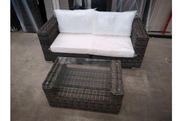 #HBM 1413: 2er Sofa Ariano mit Tisch Moss 5mm-grau-meliert