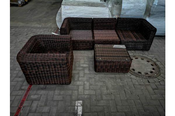 #G 1421: 3er Sofa mit Sessel und Tisch Marbella 5mm-braun-meliert