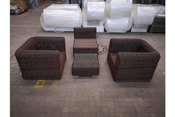 #HBM 1429: 2er Set Sessel mit Mittelelement Marbella  und Tisch Ariano 5mm