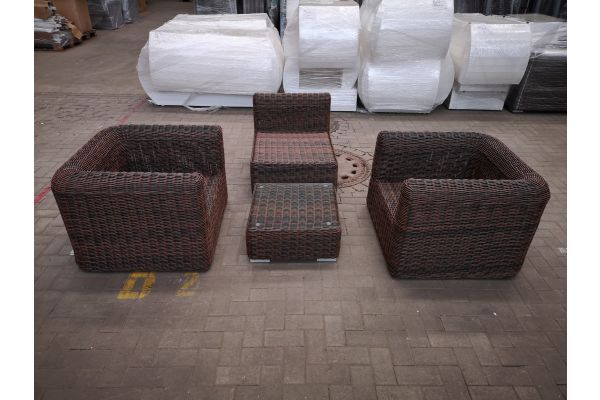 #HBM 1429: 2er Set Sessel mit Mittelelement Marbella  und Tisch Ariano 5mm-braun-meliert