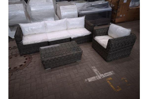 #HBM 1430: 3er Sofa mit Sessel Marbella und Tisch Mandal 5mm