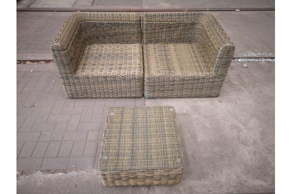 #HBM 1441: 2er Sofa Marbella mit Tisch Ariano 5mm-natura