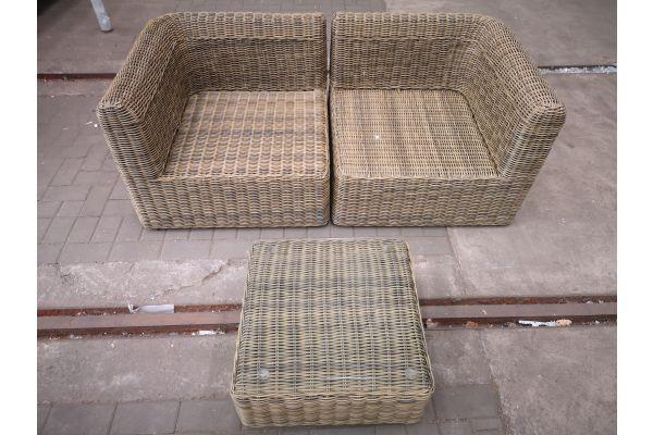 #HBM 1442: 2er Sofa Marbella mit Tisch Ariano 5mm-natura