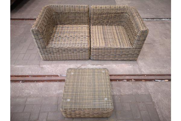 #HBM 1443: 2er Sofa Marbella mit Tisch Ariano 5mm-natura
