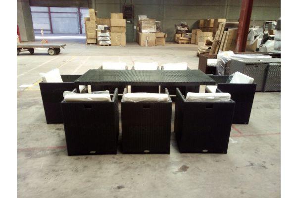 #HBM 1506: 8er Set Stuhl Maui mit Tisch Avignon XL