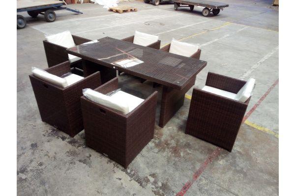 #HBM 1508: 6er Set Stuhl Maui mit Tisch Avignon 180