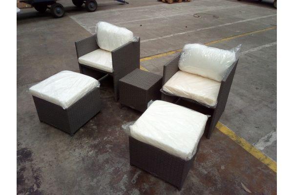 #HBM 1510: 2er Set Stuhl Maui mit Hocker und Beistelltisch Vilato