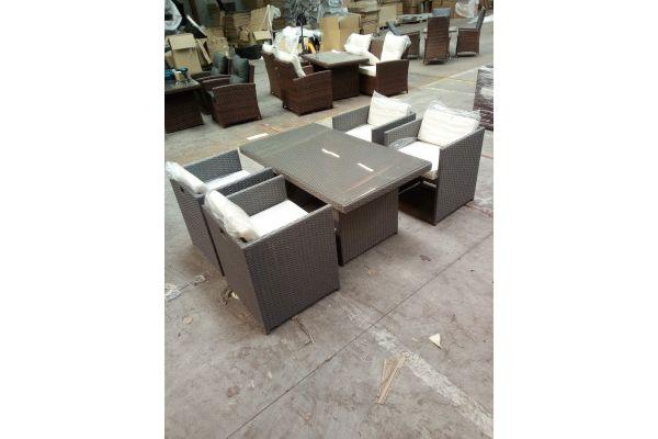 #HBM 1511: 4er Set Stuhl Tahiti mit Tisch Fisolo