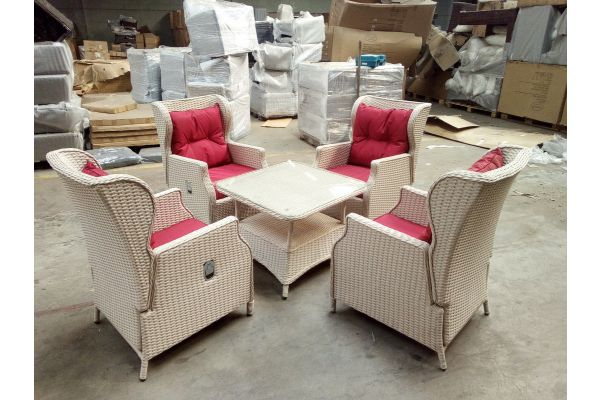 #G 1521: 4er Set Sessel Brenno mit Tisch Pandora 80x80