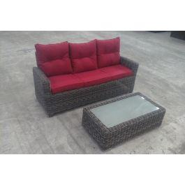 3er sofa fisolo tisch tessera grau meliert rubinrot b ware clp. Black Bedroom Furniture Sets. Home Design Ideas