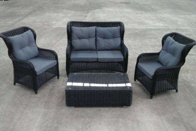 polyrattan24.de 2er sofa + sessel toledo + tisch tessera